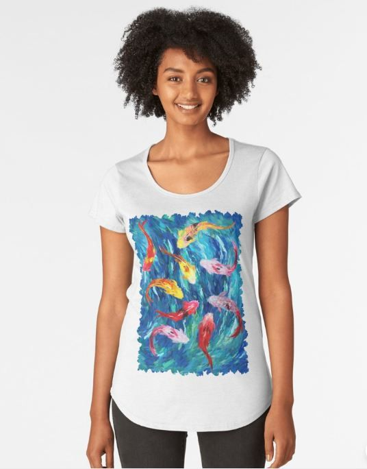 koi fish rainbow abstract paintings Women's Premium T-Shirt #womens #premium #tshirt #clothing #Fish #Koi #Dragon #Water #Sea #River #Exotic #Animal #Oil #Watercolor #Pattern #PopArt #Vintage #Shark #Aquarium #Ornament #Decoration #Ornamental #Dorry #Nemo #Finding #Beautiful #Tropic #Whale #Dory #Beauty #Rainbow #FullColor #Colorful #Acrylic #Blue #Teal #Japanese #Japan #Tattoo #Yakuza