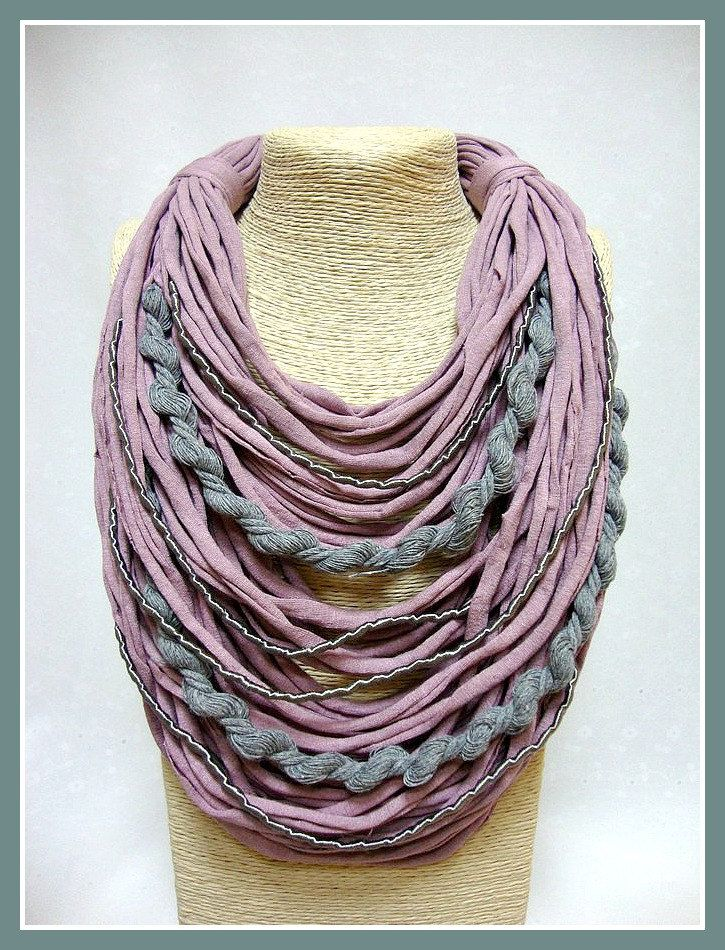 Pink & grey t-shirt yarn necklace- scarf necklace- textile jewelry- organic necklace- ecofriendly- upcycled necklace- handmade- silk stripes by veniakriezia on Etsy
