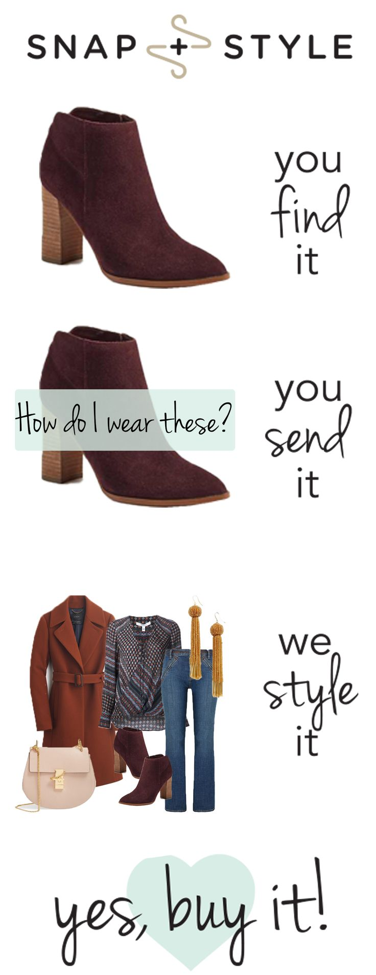 Three easy steps to getting styled...just sign up and submit a styling request! 1.Ask what to wear – from scratch or with something in mind 2. Provide quick details and hit submit 3. Get your outfit back from a real stylist – just for you – and shop the look!