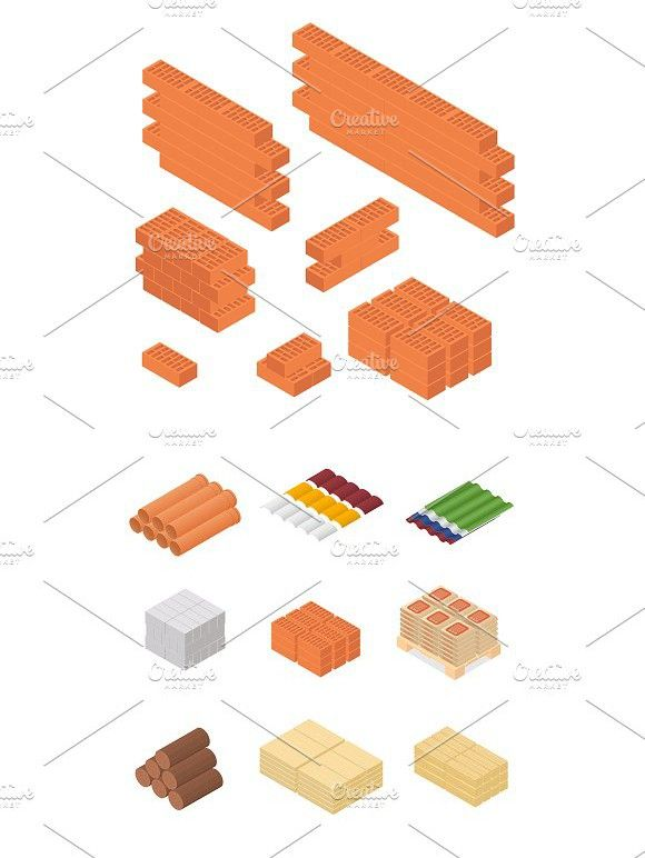 Construction Material Isometric Isometric Design Isometric