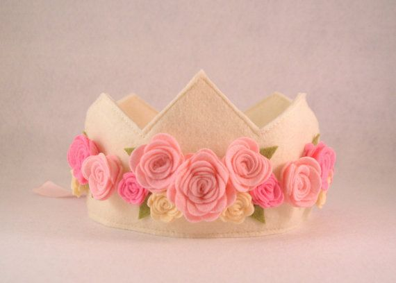 Felt Rose Crown Princess Crown Pink Cream by pixieandpenelope, $30.00