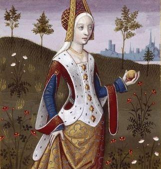 VII-Vénus, reine de Chypre, déesse de la beauté et de l'amour (VENUS, queen of Cyprus) -- Giovanni Boccaccio (1313-1375), Le Livre des cleres et nobles femmes, v. 1488-1496, Cognac (France), traducteur anonyme. -- Illustrations painted by Robinet Testard -- BnF Français 599 fol. 10 -- See also at: https://commons.wikimedia.org/wiki/File:V%C3%A9nus_BnF_Fran%C3%A7ais_599_fol._10.jpg