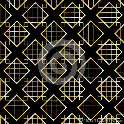 Gold Diamond Checkered modern ornament on black background. Gold Seamless background pattern with diamond shapes and ornament. Vector
