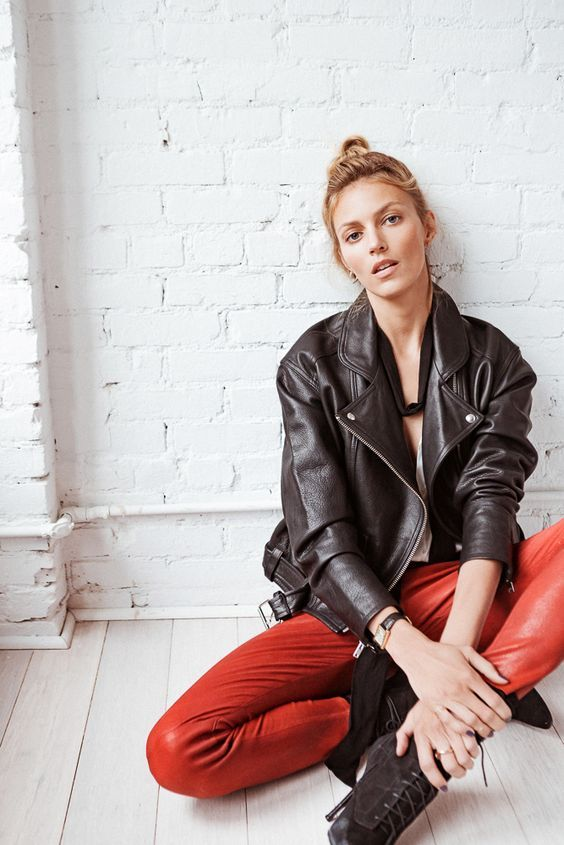 Anja Rubik style leather pants and leather jacket