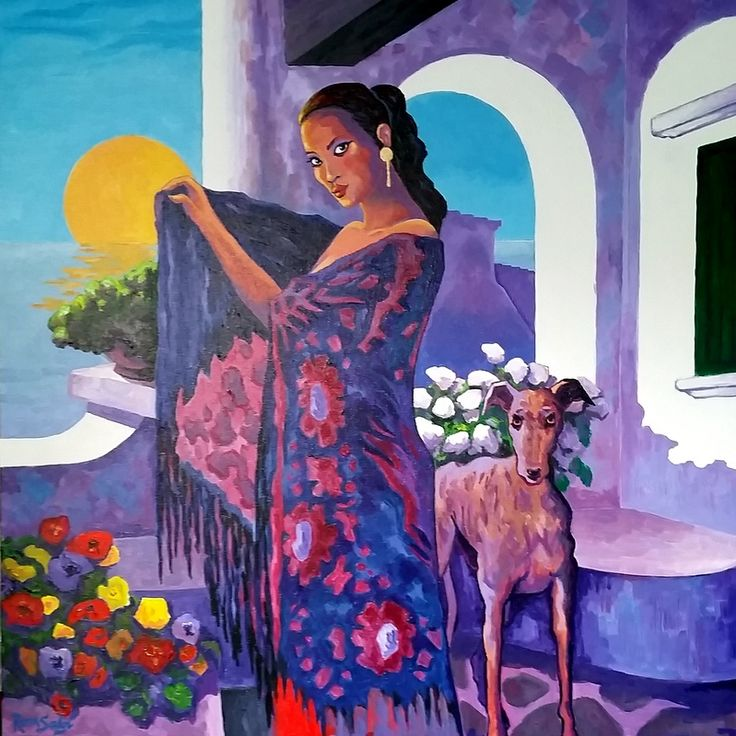 # 394 Madona recibe al sol. - Autor: RomSabi, acrílico y esmaltes - sobre tabla de madera, 70x70cm.