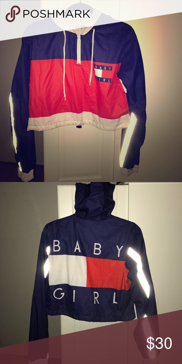 Baby Girl Crop Windbreaker Tommy Hilfiger inspired long sleeve cropped windbreaker. Thug Ave Tops Sweatshirts & Hoodies