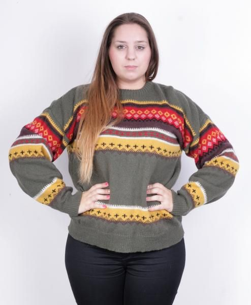 Emilio Cloud Womens L Jumper Sweater Green Lambs Wool Blouse Top Vintage Aztec - RetrospectClothes