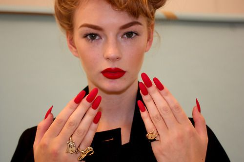 boomnails:  Long Red Matte Oval Nails for Wonderland Shoot