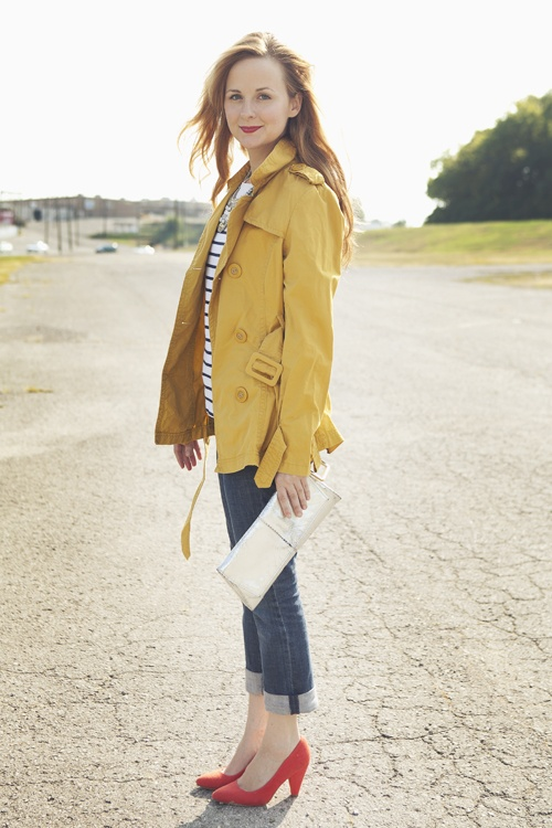 Repin Via: Laurren Welch: Primary Colors, Colors Combos, Red Shoes, Red Heels, Work Outfits, Yellow Jackets, Science Fair, Laurren Welch, Mustard Yellow