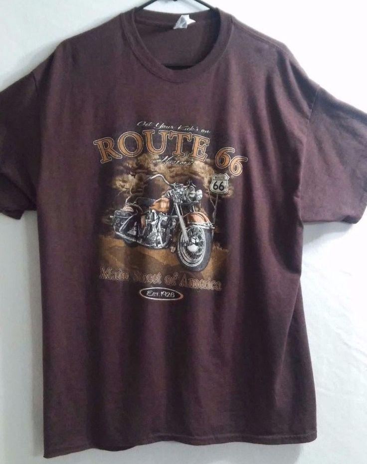 Get Your Kicks on Route 66 Gildan T-shirt Size XL Nice! Motorcycle Theme  D4 #Gildan #GraphicTee