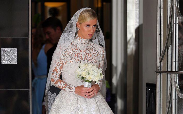 壁紙をダウンロードする Nickyヒルトン, アメリカモデル, 花嫁, ウェディングドレス, パリス-ヒルトン姉妹