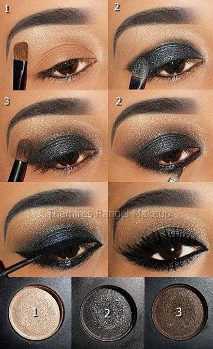 "Olho preto perfeito com 3 sombras. Re-create this look with Younique's piments in ""Sexy"", ""Devious"", and ""Daring"""
