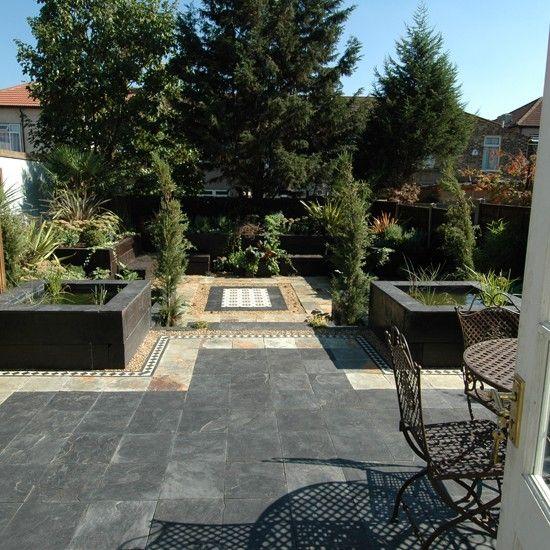 Urban garden patio ideas; re-create this gorgeous patio using oyster natural riven slate https://mrs-stone-store.com/oyster-natural-riven-slate-tiles/ #Urbangarden #Oysternaturalrivenslate