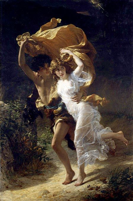 There is a lot to love here. The way the man is looking after her, her soft figure, the lighting, and all of the movement in thir clothing. What an amazing artist.