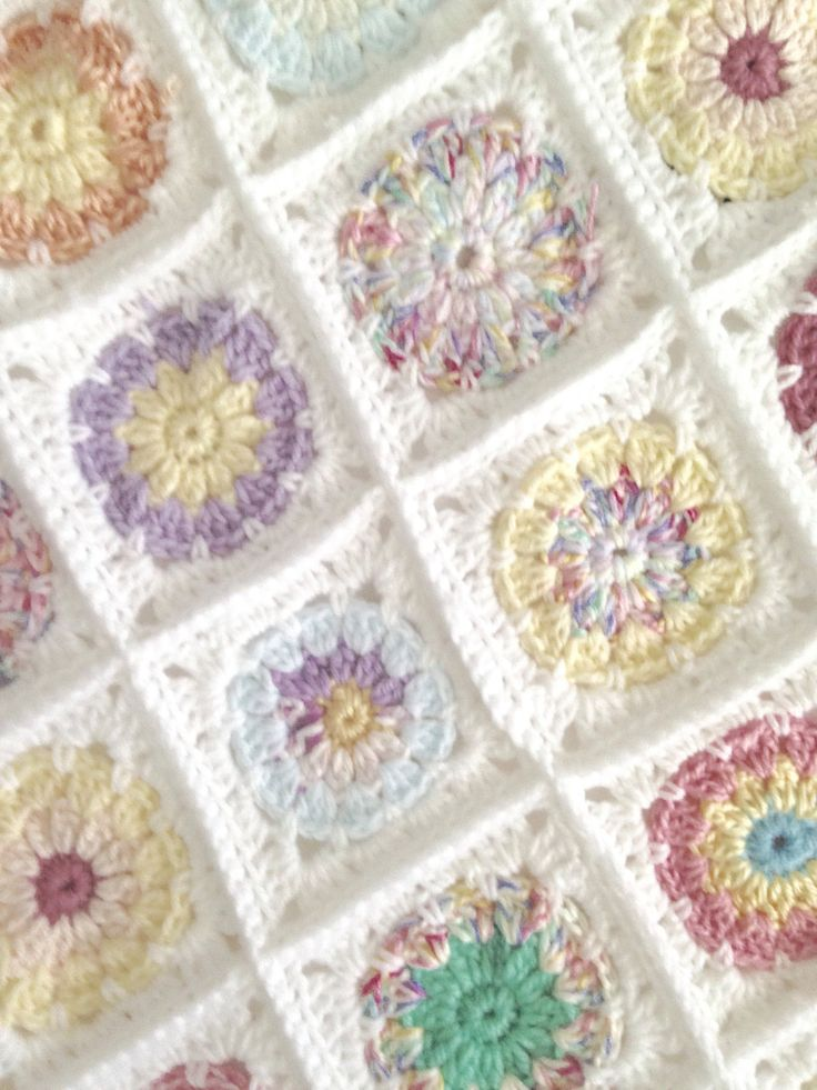Crochet Pastel Patch Baby Blanket/Throw by PreciousPossums on Etsy