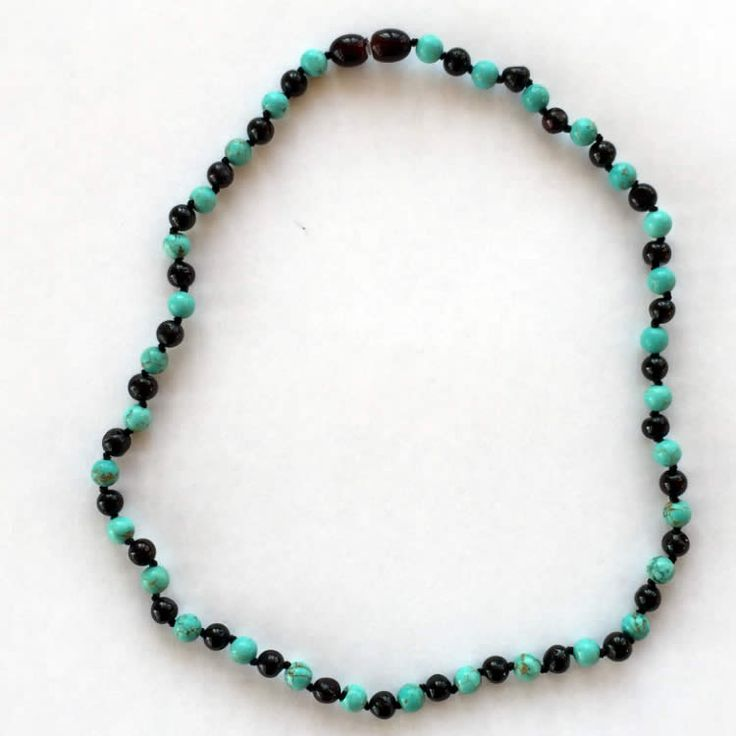 Turquoise and amber necklace - stunning