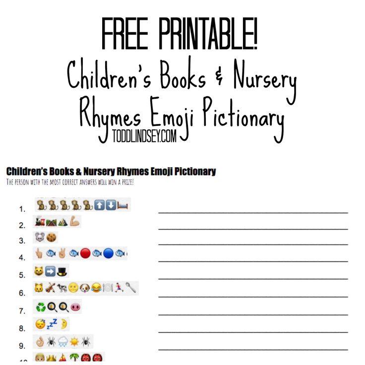 Free Online Printable Baby Shower Games: FREE Printable! Children's Books & Nursery Rhymes Emoji