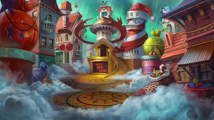 santa's sky town Fantasy art landscapes, North pole