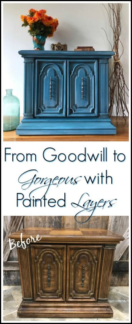 Goodwill accent table gets a makeover. See how to paint furniture with layers