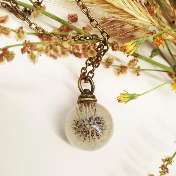 Dandelion resin orb - resin jewelry - dandelion jewelry resin sphere pendant - dandelion resin - make a wish - bridesmaid - maid of honor