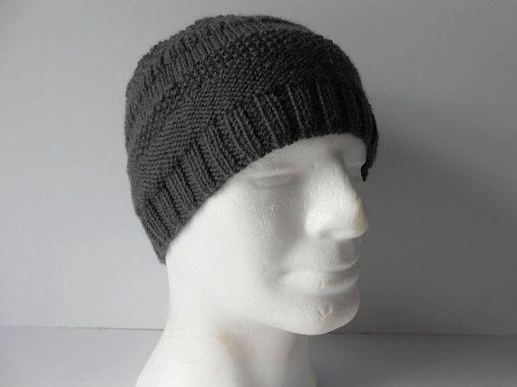Hand Knit Wool Hats. Men's Hats. Pure new wool hat. Men's wooly hats. Gray Winter Cap, Winter Hats for Men. Winter Hats for Women.
