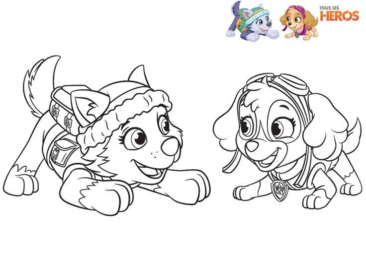 Coloriez les membres de la #PatPatrouille, les petits chiens les plus mignons ! #coloriage #pawpatrol sur www.tous-les-heros.com !