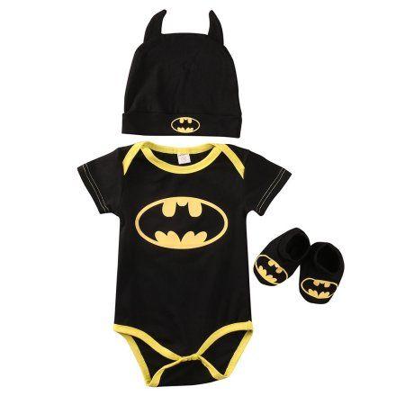 Newborn Toddler Baby Boys Clothes Romper Bodysuit Shoes Hat Batman Outfits Set - Walmart.com