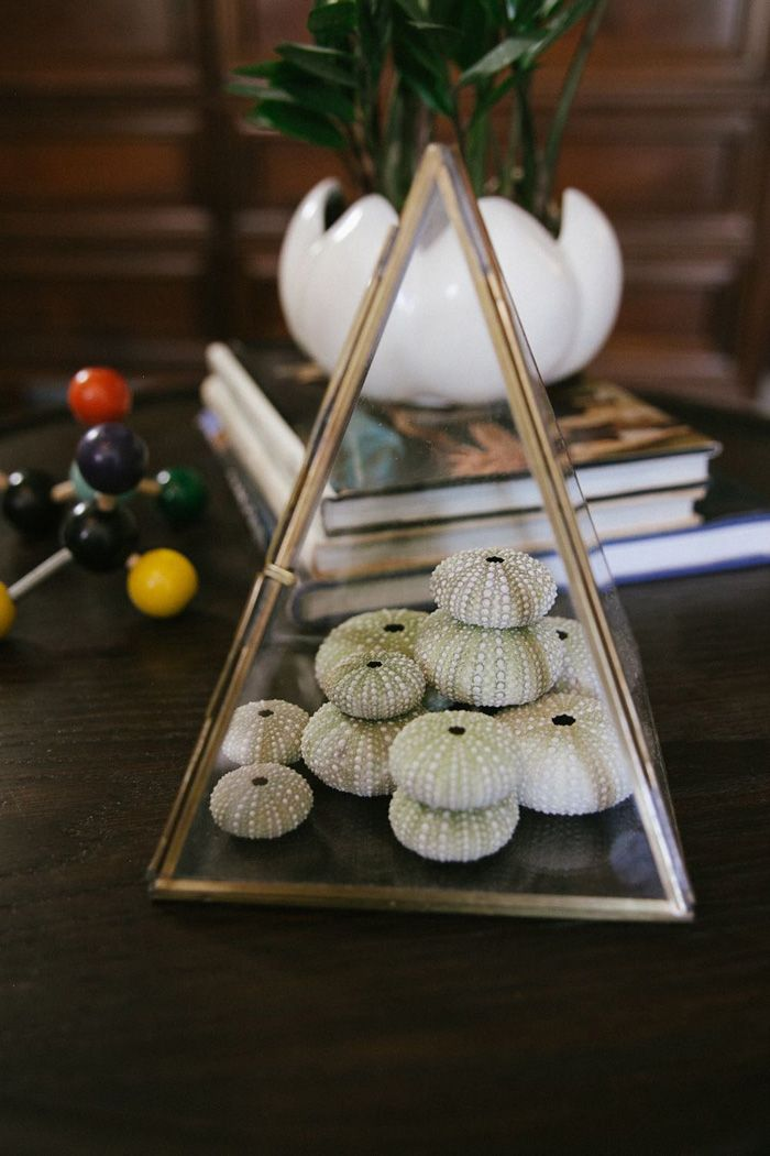 Eclectic Glamour In Laurel Canyon | Design*Sponge Glass triangle box.