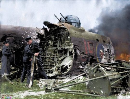 Avro Lancaster, badly shrunken and burnt. The crew survived, 2 wounded.