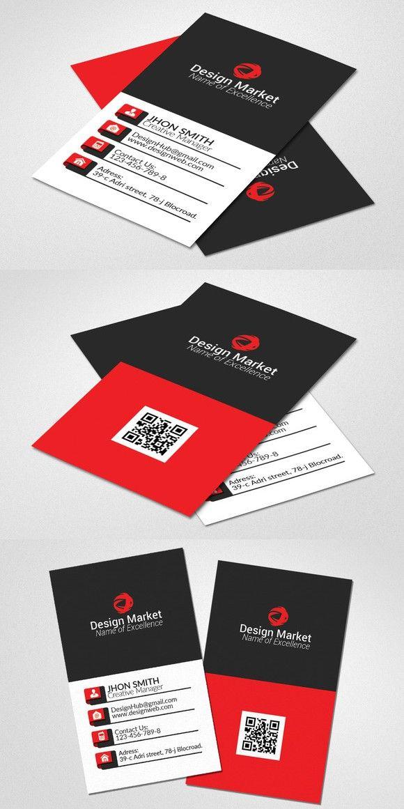 Vertical Business Card Template. Creative Card Templates. $6.00