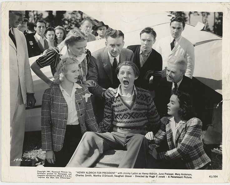 Mary Anderson, Kenneth Howell, John Litel, Jimmy Lydon, Sidney Miller, Martha O'Driscoll, and Dorothy Peterson in Henry Aldrich for President (1941)