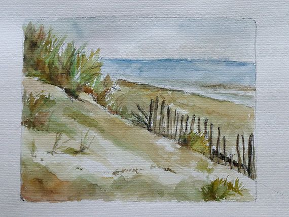Small seaside watercolor beach painting wall decor.