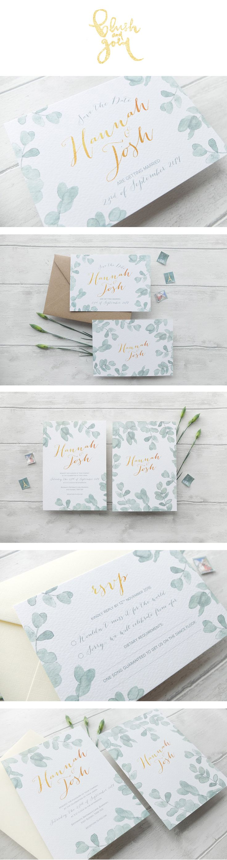 Eucalyptus watercolour wedding invitation suite. Elegant and modern! Mais