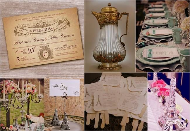 French Vintage Wedding Decor, Stationary & Favors - Gather French Vintage inspiration for your wedding day. #French # Vintage #Bridal #Wedding
