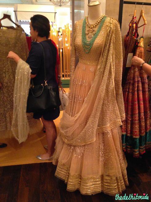 Tarun Tahiliani - Peach & Gold Anarkali - Vogue Wedding Show 2015