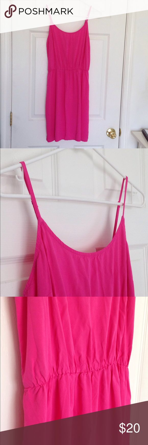 "Pink Cami Sundress Pink Cami Sundress. Elastic band at waist and straps adjustable. Lightweight. 100% rayon. No stains or holes. Measurement laying flat: bust: 16"" waist: 12.5"" length: 34"" Old Navy Dresses Midi"
