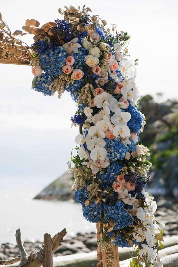 WedLuxe – Odyssey of Love | Photography by: Jasalyn Thorne Photographers #luxury #wedding #flowers #blue #hydrangea #grecian #Mediterranean #reception #decor