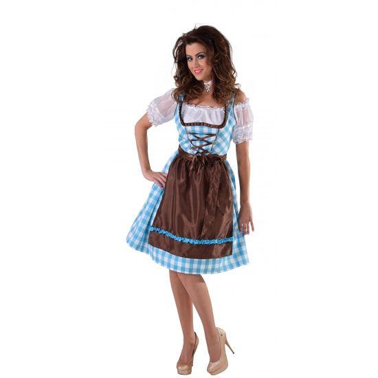 Tiroler jurk blauw met bruin schort. Carnavalskleding 2016 #carnaval