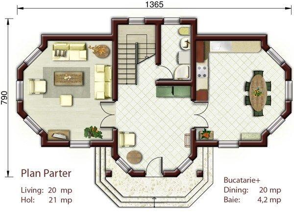 case mici cu trei dormitoare 3 plan parter