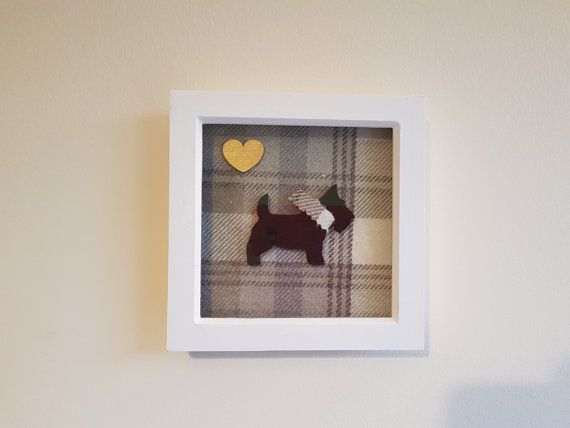 tartan scottie dog picture frame by craftawaycreations on etsy