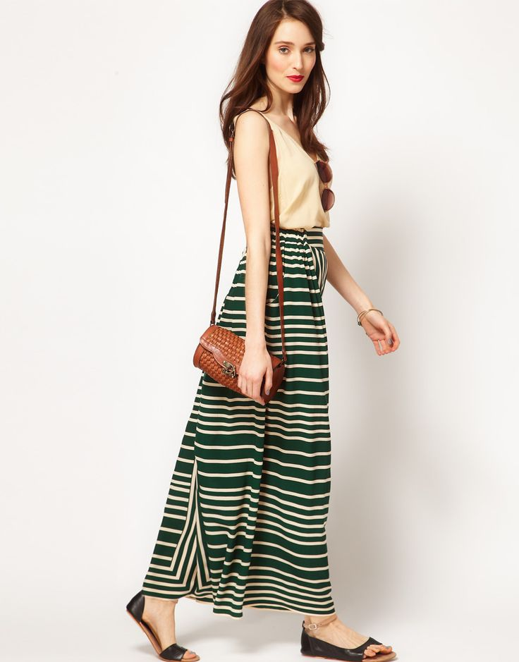 Absolutely beautifulSimple Long Skirts Outfit, Fashion Shoes, Border Stripes, Stripes Maxis Skirts, Stripes Skirts, Striped Skirts, Green Stripes, Maxi Skirts, Whistle Border
