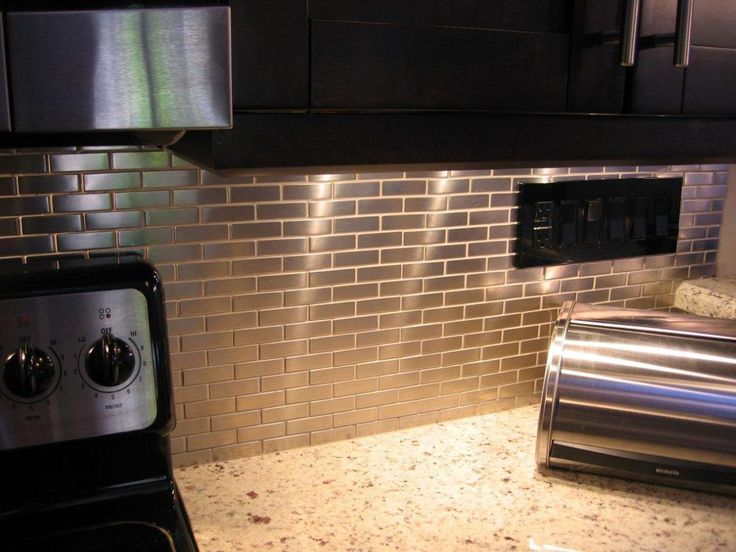 72 best stainless steel tile images on pinterest kitchen Kitchen backsplash ideas stainless steel
