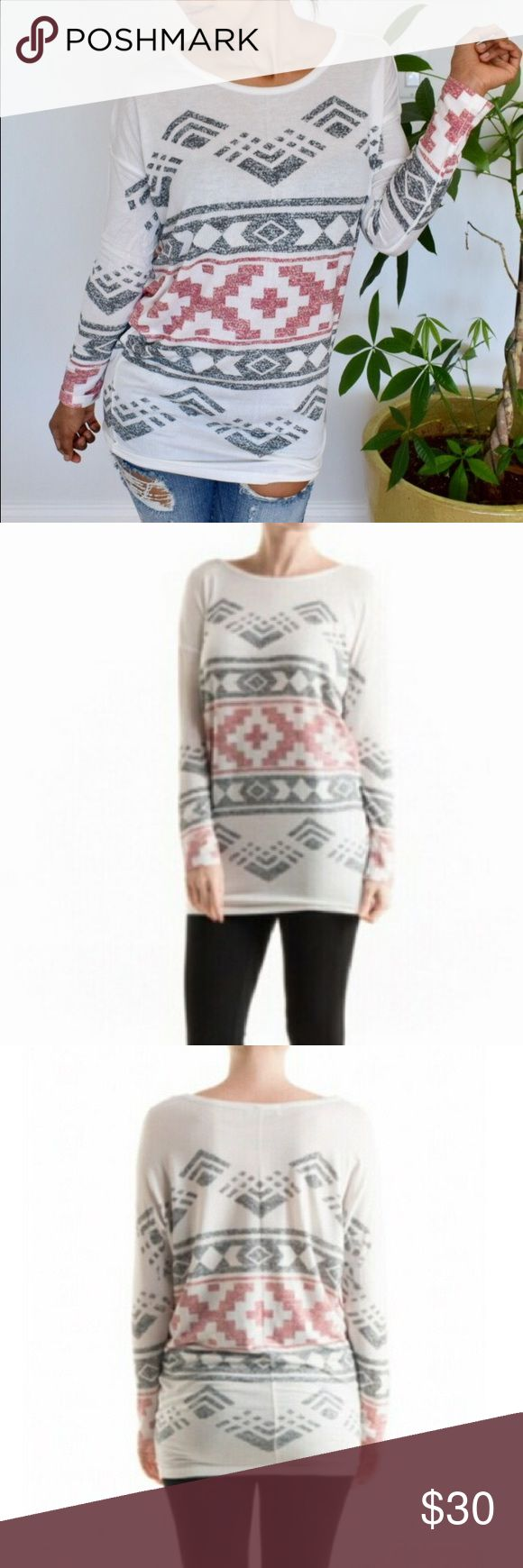 ❗️SALE❗️Aztec Sublimated Tunic 64% poly, 33% rayon, 3% spandex. Cool lightweight top! Pair with jeans or leggings!! Tops Tees - Long Sleeve