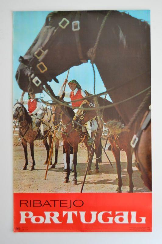 "1969 ORIGINAL VINTAGE TRAVEL POSTER Campinos Ribatejo Portugal 24""x39"" Horses"