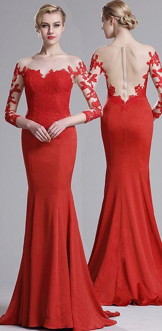 eDressit Red Lace Mermaid Prom Dress