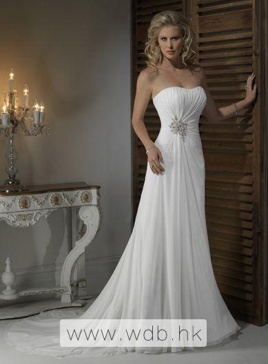 Gorgeous Strapless A-line Chapel Train bridal gowns $218.98