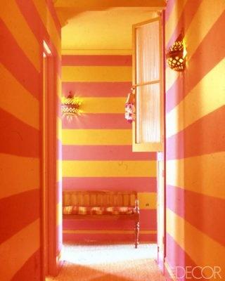 Vibrant orange-and-pink stripes race down the bedroom-corridor walls of designer Muriel Brandolini's Victorian weekend house in Southampton, New York, via Elle Decor: Orange, Interior, Idea, Color, Pink, Stripes, Design, Room