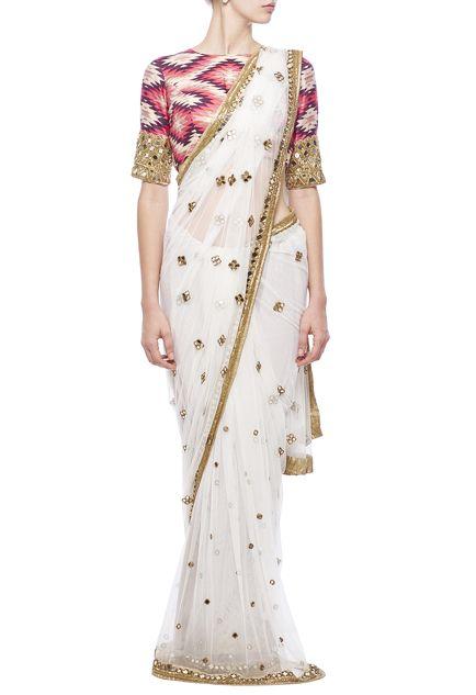 Ivory mirror embroidered & aztec printed sari