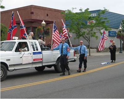 Aryan Nations members engaged in protest