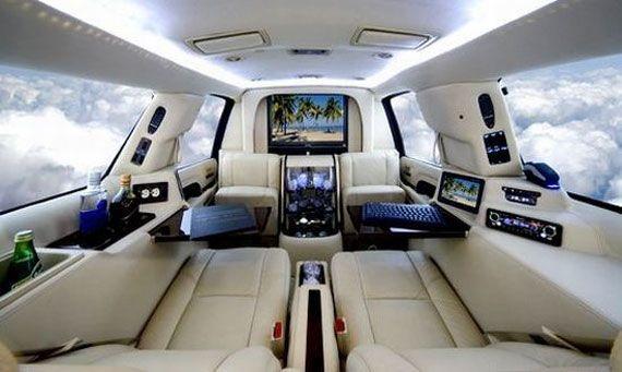 expensive interior   Luxury Office Interior in Limousine Car